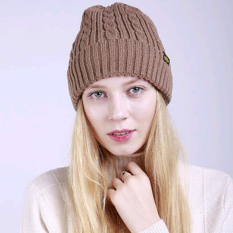 2017 New Winter Coffee Twist pattern curling cashmere warm knitted Women hat caps outdoor ski beanies hats for girls skullies 2016 new beautiful colorful ball warm winter beanies women caps casual sweet knitted hats for women outdoor travel free shipping
