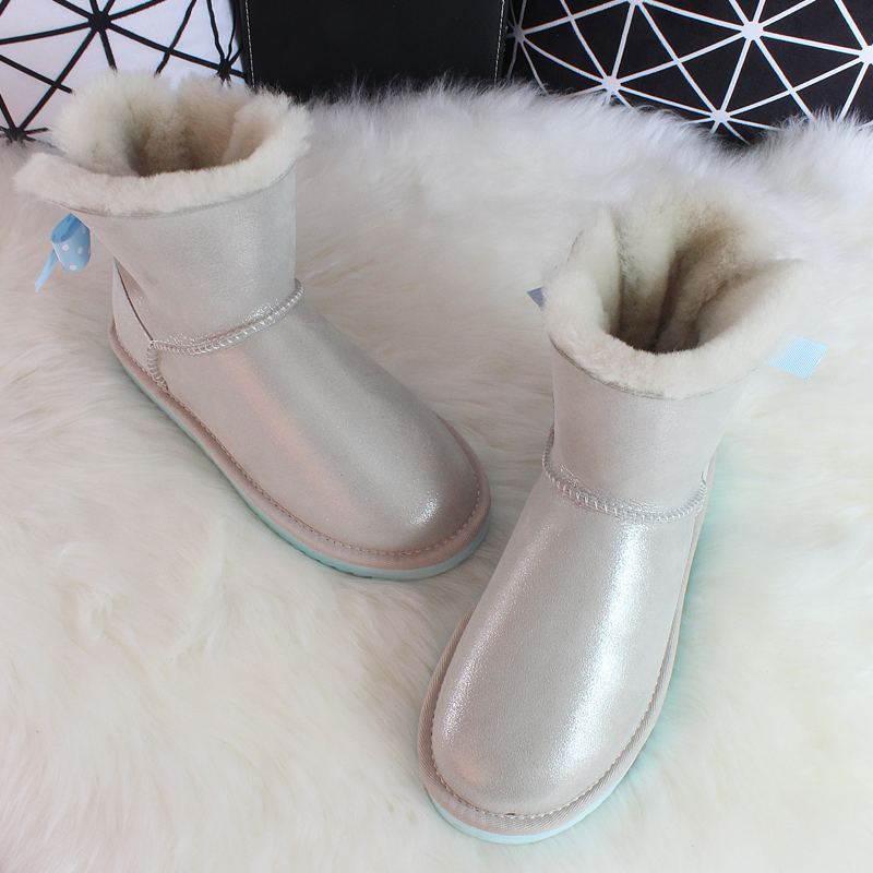 G&Zaco Luxury Sheepskin Snow Boots Women Natural Fur Genuine Leather Short Bow Boots Winter Wool Boots Sheep Fur Winter Boots wool boots fur and leather boots