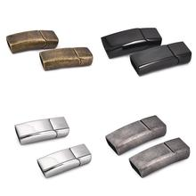 2Sets Magnetic Clasps Stainless Steel Magnet Buckle for Flat Leather Cord Bracelet Men DIY Jewelry Making Findings Accessories
