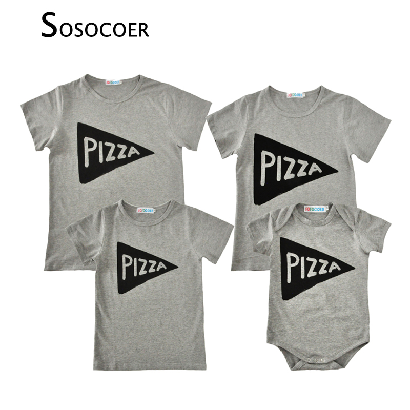 SOSOCOER Mother Daughter T-shirts 2018 Summer Letter Pizza T Shirt Romper Family Look Matching Father Mother Kids Baby Clothes