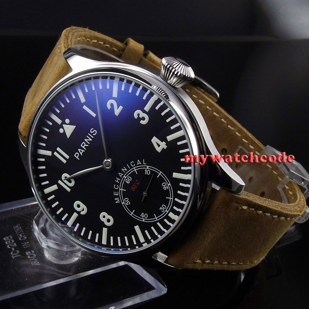 44mm parnis black dial blue luminous 6498 movement hand winding mens watch P398 цена и фото