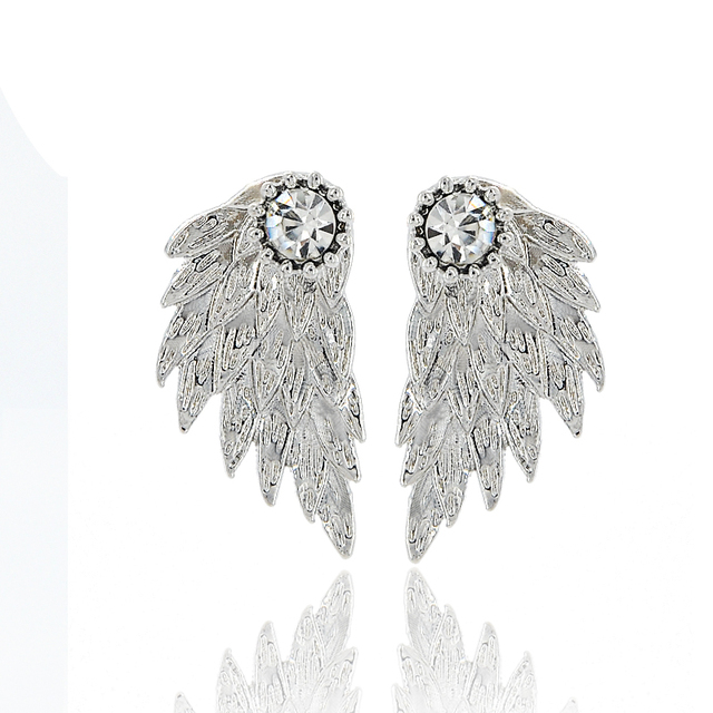 Vintage Gothic Angel Wing Alloy Stud Earrings Cool Black Antique Silver Color Feather Earrings for Women Men Fashion Jewelry 1