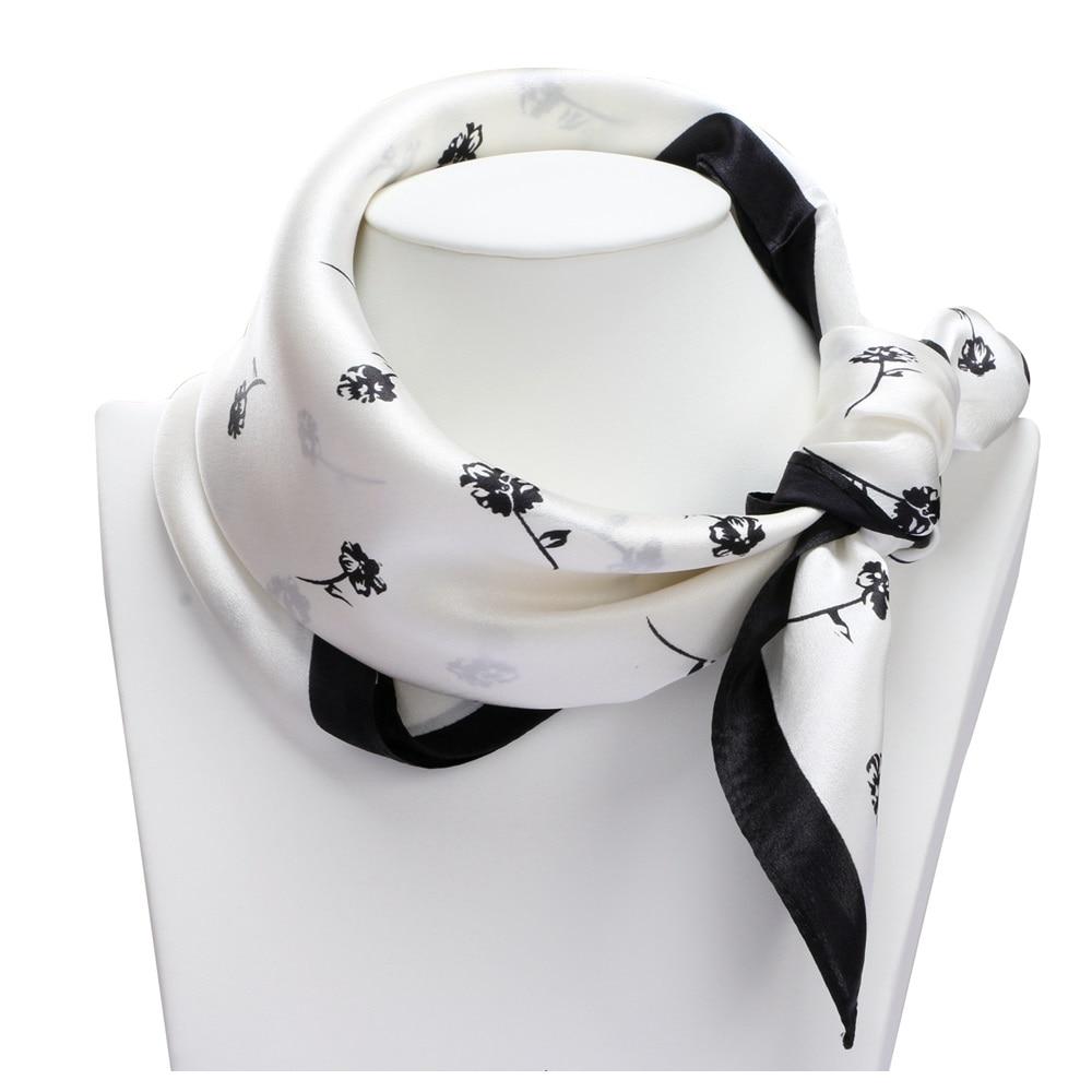 Elegant Floral Printed 100% Silk Bandana   Scarf     Wraps   Small Square Silk Scarfs Neckerchief 53x53cm