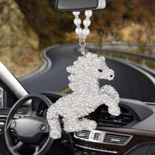 купить Car Pendant Hanging Crystal horse steed Car Interior Ornaments Decoration Rear View Mirror Accessories Auto Ornament styling по цене 585.39 рублей