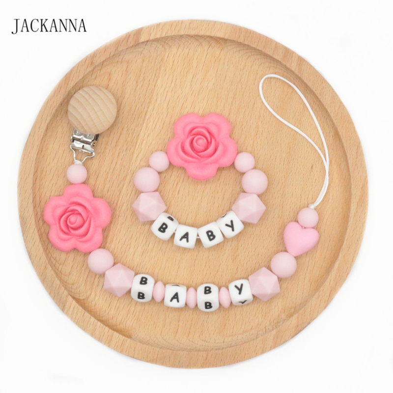 Personalise Name Baby Pacifier Clips Holder Chain Set Teething Silicone Pacifier Chains Holder Flower Baby Teether Dummy Clips