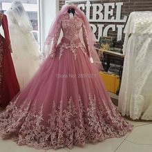 Floria Robe De Mariee Pink Wedding Dresses With Long Sleeve. US  162.40    piece Free Shipping 5d39d9e7151d