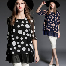 Plus size 5xl summer fashion women Chiffon blouses shirt In the wave point code women clothes black loose bottom casual blouses