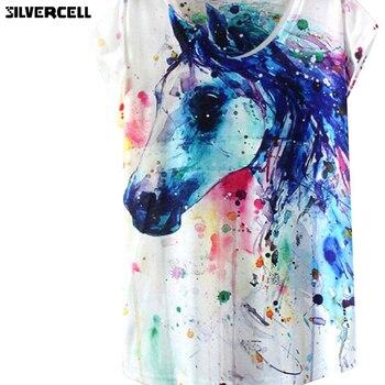 Yaz Tarzı Mürekkep Boyama At Desen Baskı T Shirt Kadın Yaz Giysileri