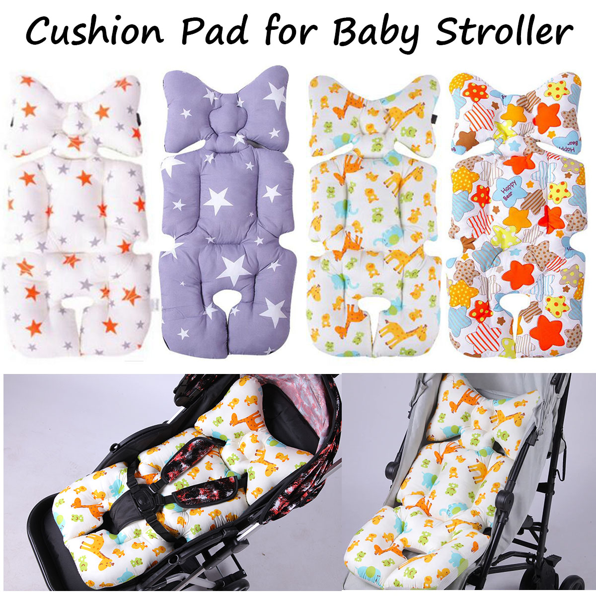 Baby Cartoon Animal Stroller Cushion Seat Cover Baby Diaper Pad Seat Pad Cotton Baby Stroller Mat Mattress Pram Stroller Strollers Accessories