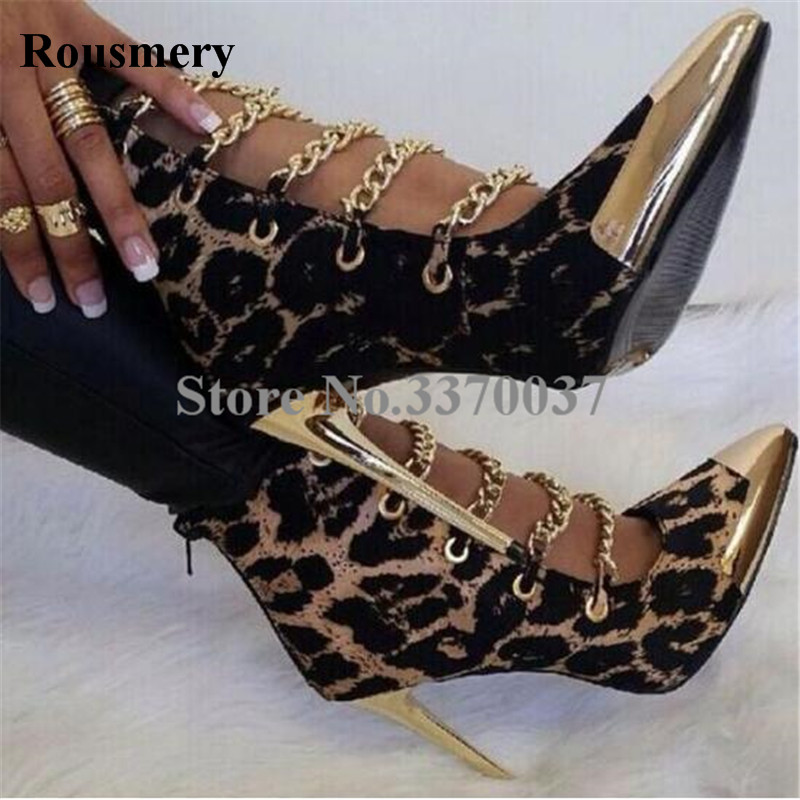 Women Fashion Gold Metal Pointed Toe Leopard Patent Leather Ankle Boots Stiletto Heel Ankle Boots High Heel Dress Shoes цена