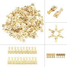 100 шт., 2,8 мм, 4,8 мм, 6,3 мм, золотой Латунный автомобильный динамик, электрический провод, набор разъемов, Женский обжимной разъем, набор разъемов