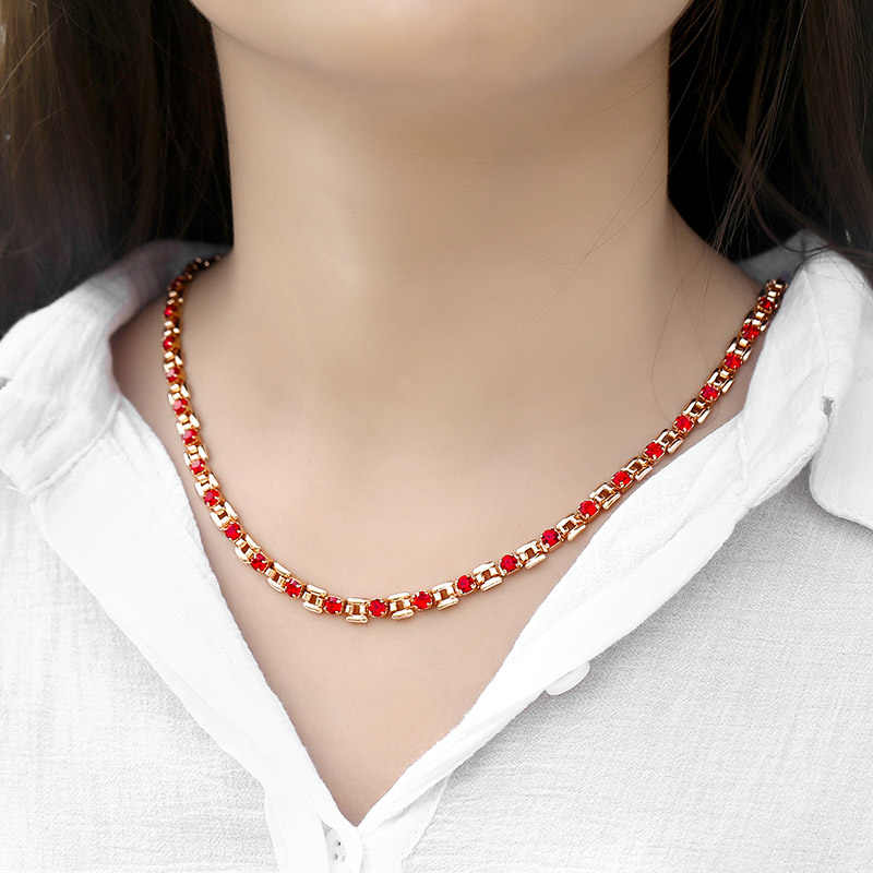 6 kolor Cubic cyrkon naszyjnik łańcuch dla kobiet 585 różowe złoto naszyjniki kobieta biżuteria prezenty walentynkowe Dropshipping 5.5mm HGNM129