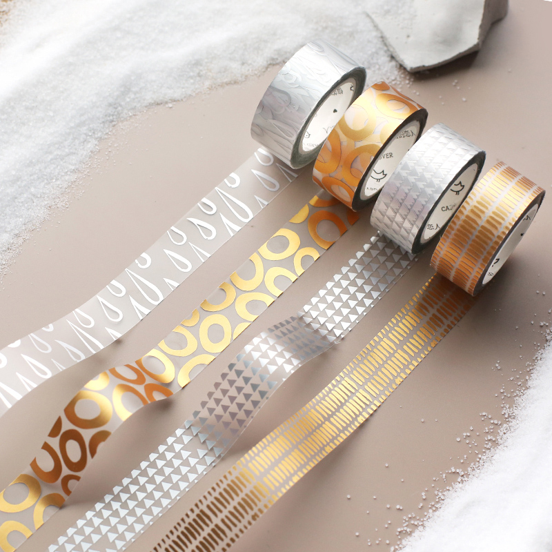 Transparent Bronzing Process PET Washi Tape DIY Decoration Scrapbooking Planner Masking Tape Adhesive Tape Label Sticker