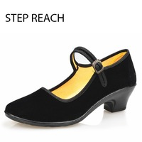 STEPREACH Brand Shoes Woman High Heels Buckle Strap Rubber Round Toe Solid Black Mary Jane Shoes