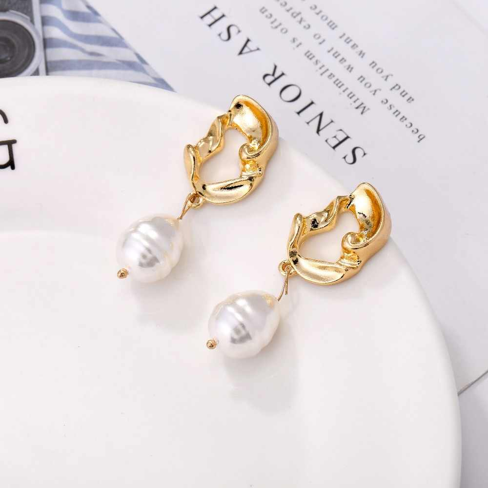 Trendy Vintage Drop Pearl Earrings For Women 2019 Baroque Geometric Metal Gold Earrings Fashion Jewelry Girls Party Date  Y10