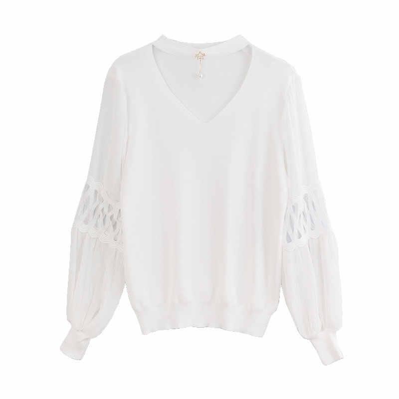 YISU весна женский свитер с v-образным вырезом с длинным рукавом свитер женский 2019 новый свитер женский полый джемпер Свободный пуловер