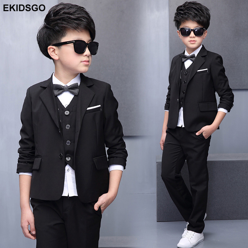 Boys Blazer Kids Blazers Suits Children Jacket+Vest+Blouse+Tie+Pants 5 pieces/set Big Boy Blazer Suit for Weddings Party EB164 брызговики передние novline autofamily fiat doblo 2014