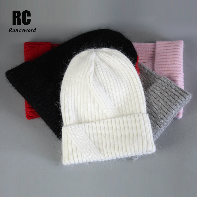 [Rancyword] Women Hats Winter Angora Hat For Women Rabbit Fur Pompom Caps Warm Beanies Thick Winter Hats For Women RC2054