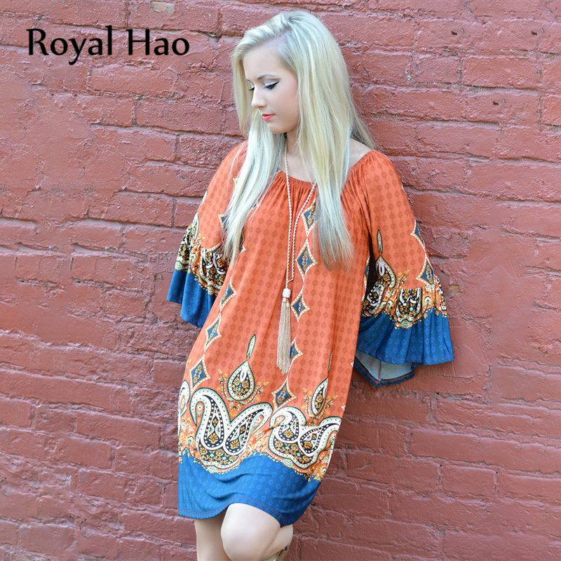 R&H Vintage Dress Women's Summer Slash Neck Half Sleeve