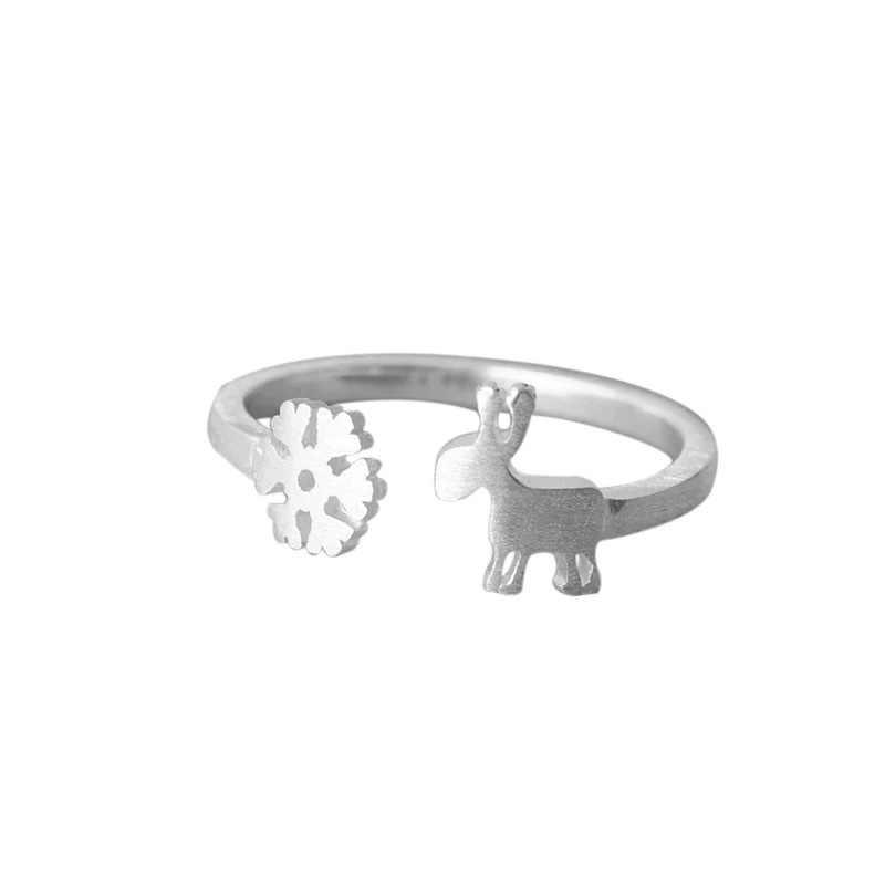 ใหม่ Real 925 Sterling Silver Christmas Snowflake แหวนสำหรับงานแต่งงาน Punk Retro โบราณปรับขนาดนิ้วมือแหวน