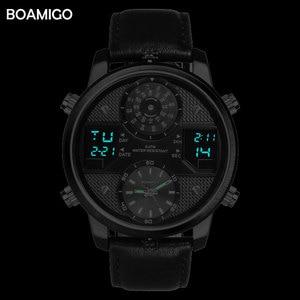 Image 4 - BOAMIGO גברים קוורץ שעונים 3 אזור זמן creative LED דיגיטלי ספורט שעונים זכר עור שעוני יד גבר שעון Relogio Masculino