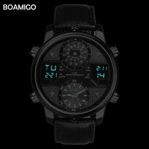 Image 4 - Boamigo 남자 쿼츠 시계 3 시간대 크리 에이 티브 led 디지털 스포츠 시계 남성 가죽 손목 시계 남자 시계 relogio masculino
