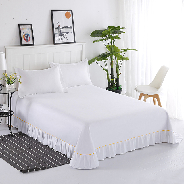 Hight Quality 100 Cotton Flat Sheet With Ruffle Full Queen King Size White Bed Sheets