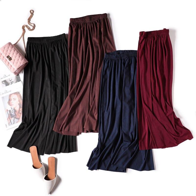 VRIGINER Summer Loose Ice Silk Striped   Wide     Leg     Pants   Women Elastic Waist Thin Chiffon Trouser Vintage Plus Size Beach Leggings