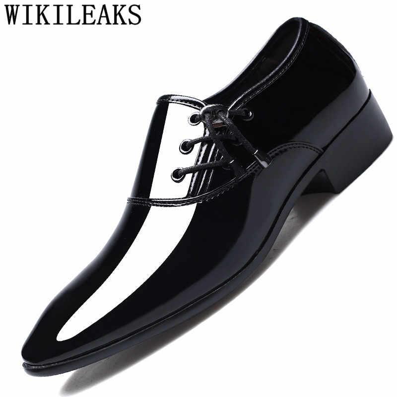 ชุดรองเท้าผู้ชาย Oxford สิทธิบัตรหนังผู้ชายรองเท้าธุรกิจรองเท้าผู้ชาย Oxford หนัง Zapatos De Hombre De Vestir อย่างเป็นทางการ