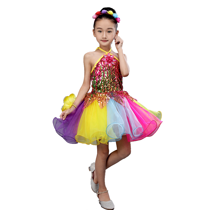 Girls Dance Costumes Salsa Sequins Modern Dance Costume Dance Girl Dress Dancewear Dancing Dress Of Girl Stage Costumes For Kids