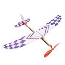 Rubber Band Powered Glider Flying Plane Airplane Model DIY Assembly Airplane for Kid Gift(China)