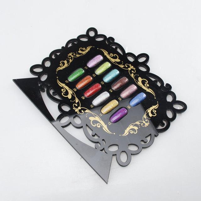 12 Unids/set Holográfica Láser de Uñas Glitter Powder Pigmento de Cromo para Salón de belleza