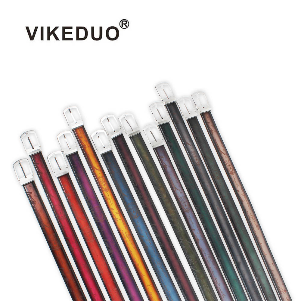 VIKEDUO Genuine Calf Leather Letter Pattern Laser Men s Business Belt Hand Painted Adjustable Strap Customized