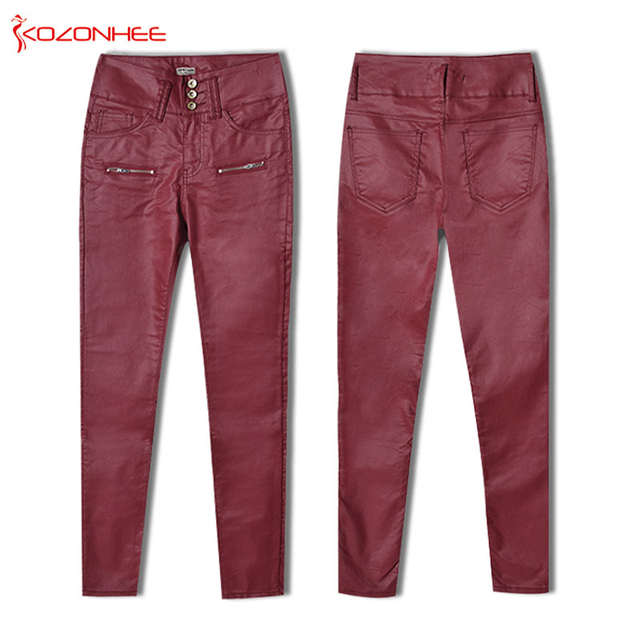6b8bda4c9885 US $21.96 24% OFF|Plus Size Women Red Wine PU Leather Pants Whith High  waist Stretch Skinny Pants Female Elasticity Women's Tights Pencil Pants  -in ...
