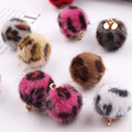 New Arrived 50pcs/lot Leopard Print Rounds Shape Imitated mink fur beads Charms Diy Jewelry Necklace/Bracelet/Earring Pendants