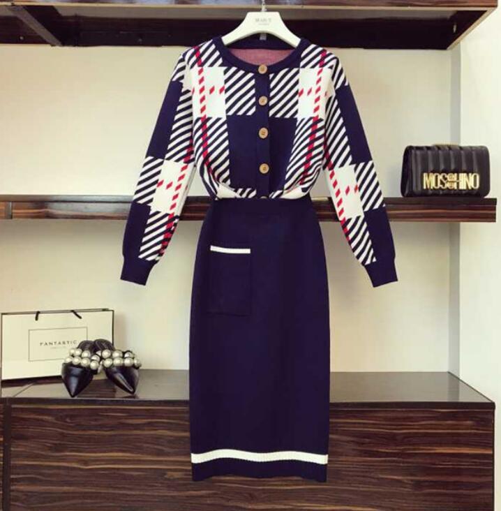 Rayée 2018 Tenues Loisirs Tricot Unique Haute En Poitrine Kaki Automne Taille Deux Femmes Cardigan Tricoté Hiver Jupe Col Rond bleu Pièces wqw1gAY