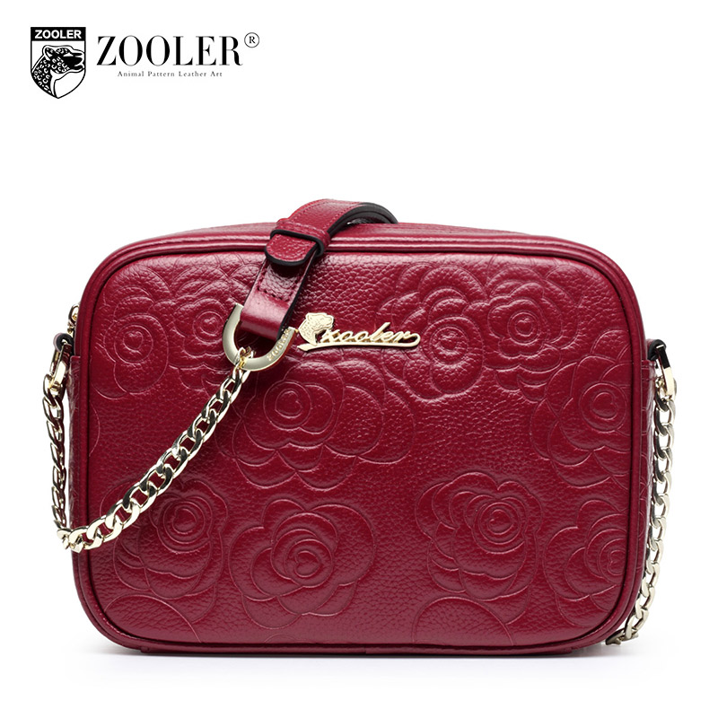 ФОТО ZOOLER Embossing Elegant Bags For Girls Chain Crossbody Bag Made Of Genuine Leather Small Dames Tassen Preppy Style Hot Sales