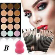 HUAMIANLI 15-color консилер+ 20 Кисть для макияжа+ водяной спонж слоеный порошок слоеный цвет случайный brochas maquillaje Мода H30322