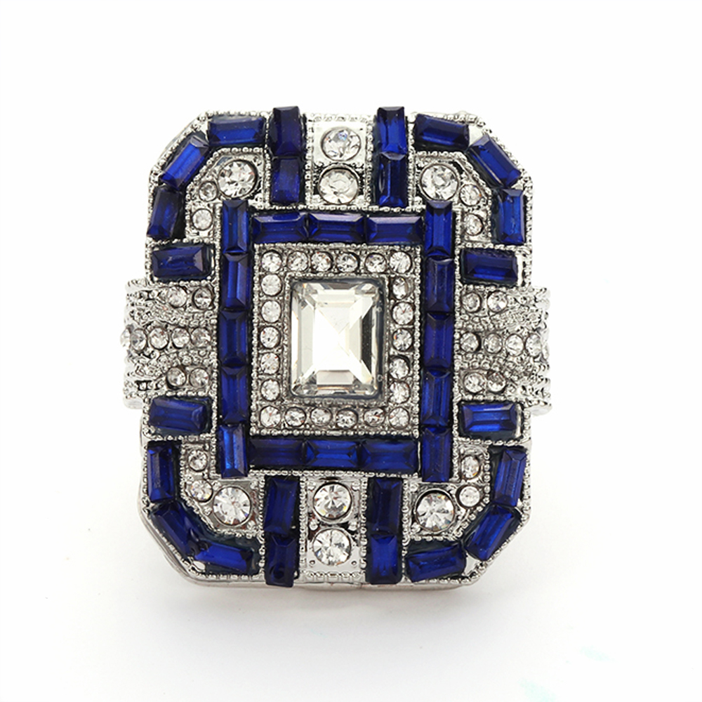 1 Pcs Fashion Women Antique Art Deco Large 925 Charm Jewelry Sterling  Silver Blue Ring Bands cf23722530b4