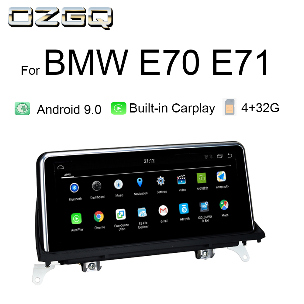 OZGQ Video Multimedia Gps Navigator For 2007-2013 <font><b>BMW</b></font> <font><b>X5</b></font> X6 Series <font><b>E70</b></font> E71CIC CCC System Android 9.0 4G Autoradio With Carplay image