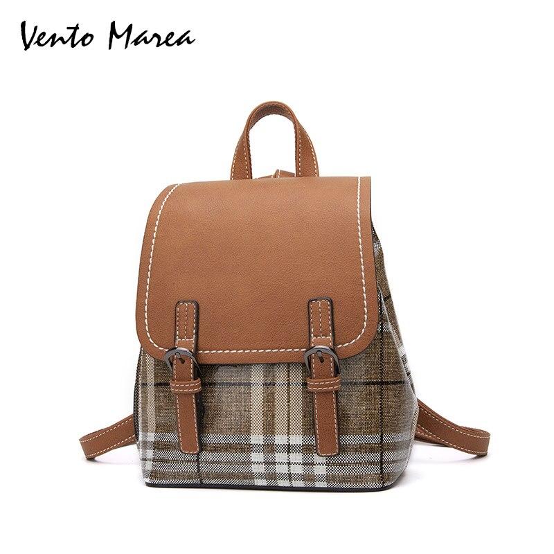 Vento Marea PU Leather Women Backpacks 2018 Fashion Leisure Female Backpack Black Brown Color Backpack School Backpack For Girl