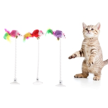 Funny Cat Toys Elastic Feather False Mouse Bottom Sucker for Kitten Playing Pet Seat Scratch Toy Products A1