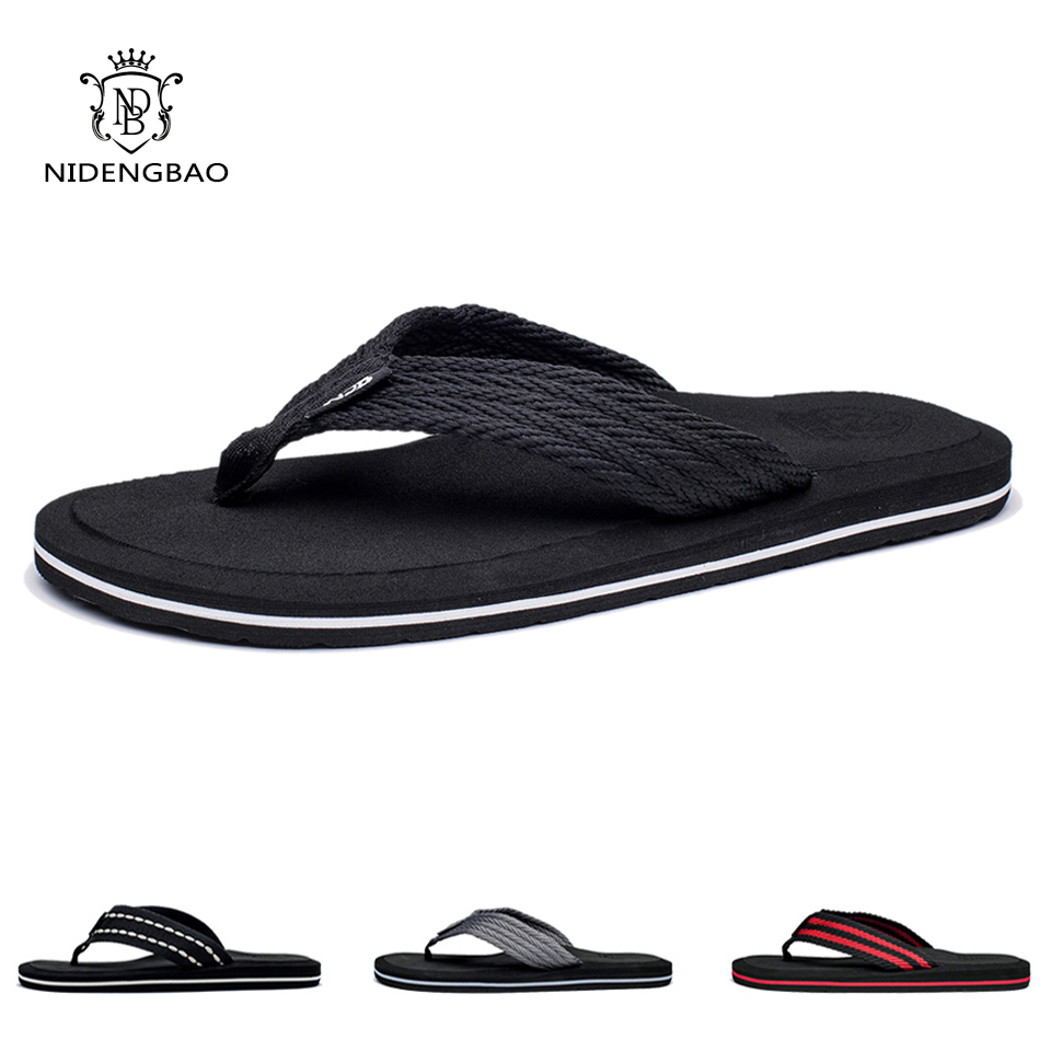 NEEDBO Flat Flip Flops Sandals Casual Men Slippers Shoes Comfortable Summer Beach Sapatos Hembre sapatenis masculino 2pcs lot new brand summer flip flops men high quality beach sandals shoes men male slippers sandals comfortable men casual shoes