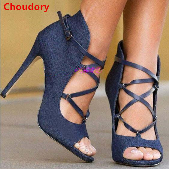 Navy blue cross-tied buckle strap high heels women pumps peep toe denim dress pumps spring summer sandals for women DFS196 alluring spaghetti strap flounced crisss cross dress for women