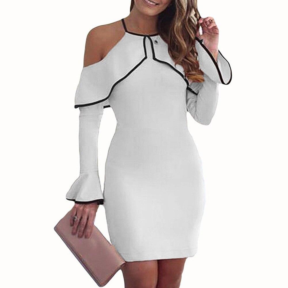 2018 summer fashion Elegant sexy dress Women Casual Long flare Sleeve bare Shoulder shealth Bodycon Short mini Dress vestido