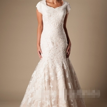 cecelle Mermaid Wedding Dresses With Short Sleeves
