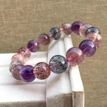 Genuine Natural Lepidocrocite Quartz Super Seven 7 Purple Rutilated Crystal Round Beads Bracelet 12.5mm Women AAAAAA Certificate