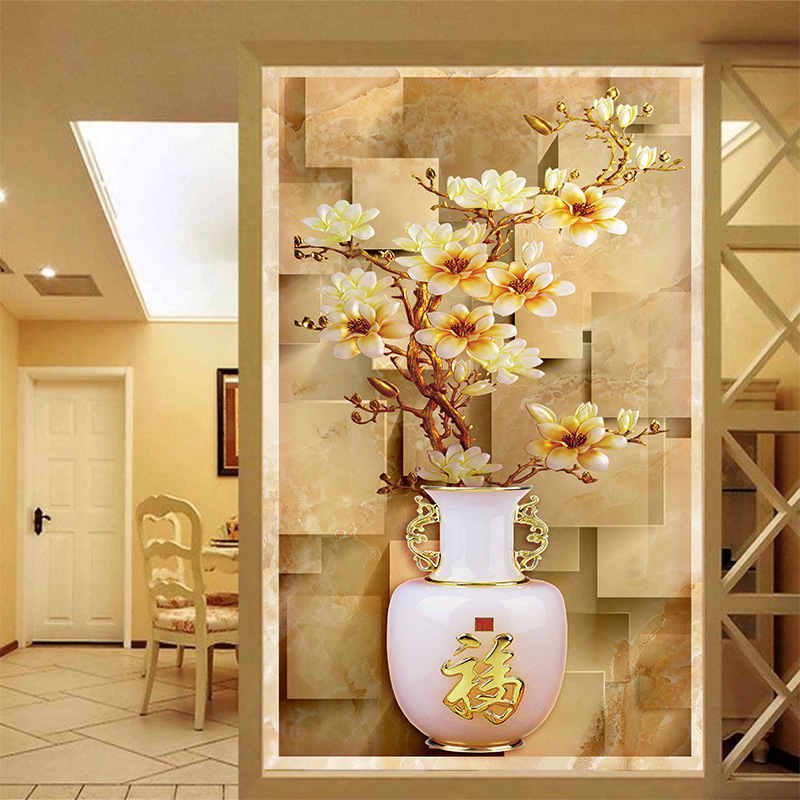 3d Hd Delicate Royal Precious Floral Vase Photo Mural Silk Cloth Wallpaper For Porch Corridor Screen Wall Decor Wall Covering