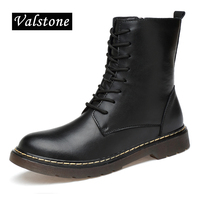 Valstone Men's Quality Genuine Leather boots Winter & Spring boots luxury high tops zipper velvet chelsea boots lovers sizes 47
