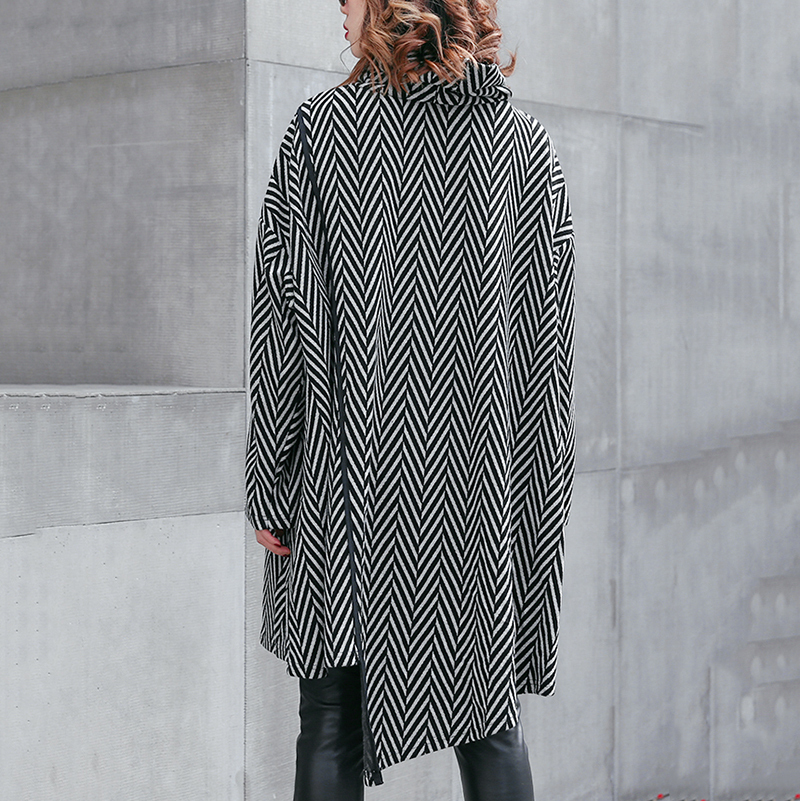 HTB1iT.nX42rK1RkSnhJq6ykdpXaA - [EAM] 2019 New Spring Winter High Collar Long Sleeve Black Striped Split Joint Irregular Hem Pocket Dress Women Fashion JL300